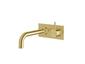 Scala 25mm Curved Wall Basin Mixer Tap System RH 200mm LUX PVD Brushed Pure Gold (6 Star)