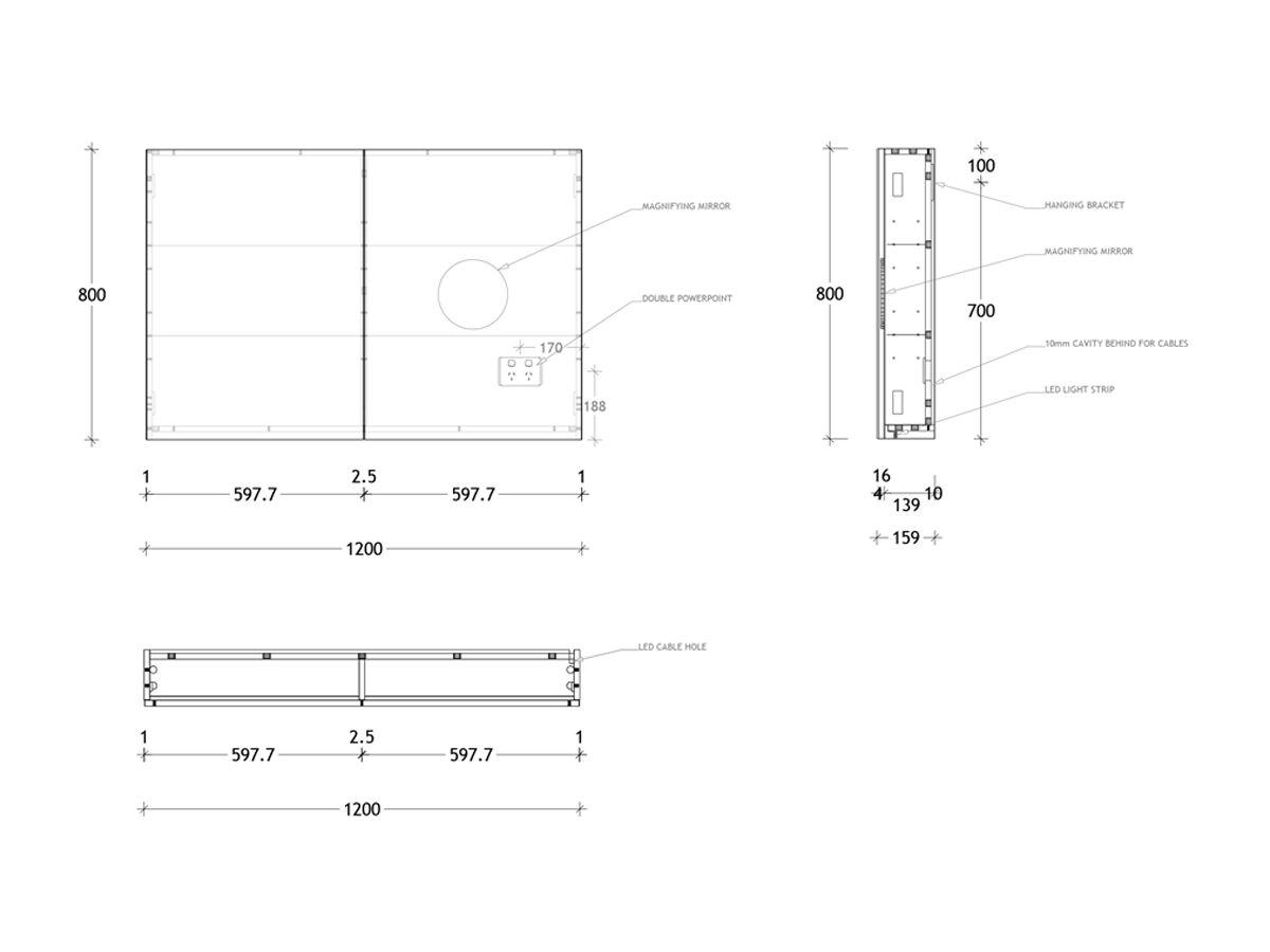 Posh Domaine Plus Shaving Cabinet Graph Int LED 1200x800 2 Door
