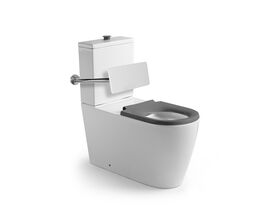 Wolfen 800 Close Coupled Back to Wall Toilet Suit Single Flap Seat with Back Rest Grey (4 Star)