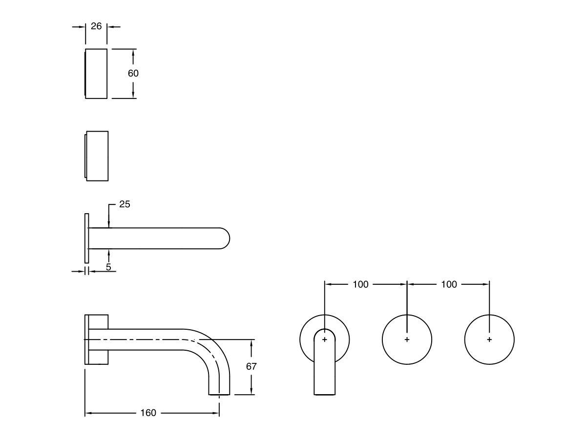 Milli Pure Wall Basin Hostess System 160mm (3 Star)