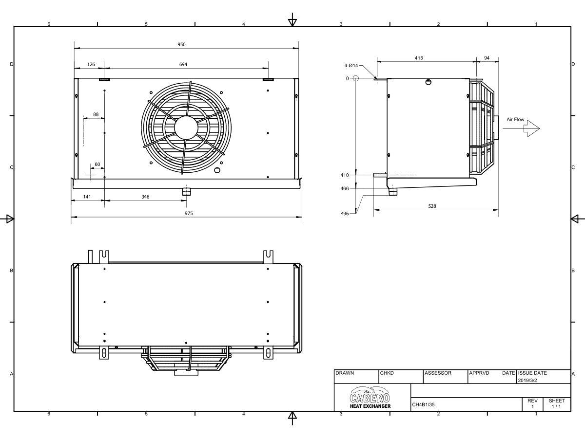 Cabero Evaporator Medium Temperature CH4B1-35-1