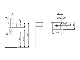 Laufen Pro A Wall Basin 360 x 250mm 1 Taphole White
