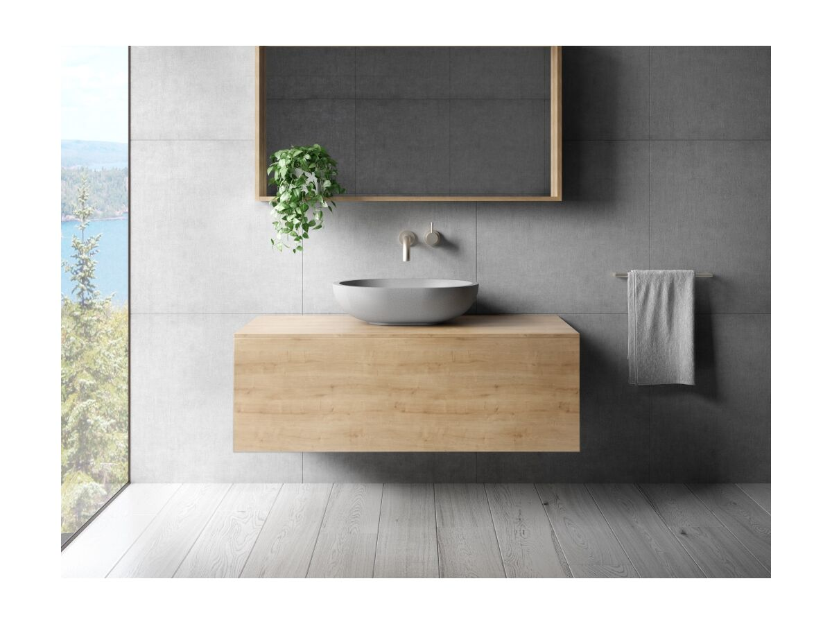 Omvivo Villa Oval Above Counter Basin 550 Cove Grey, Venice Vanity and Mirror in Arlington Oak