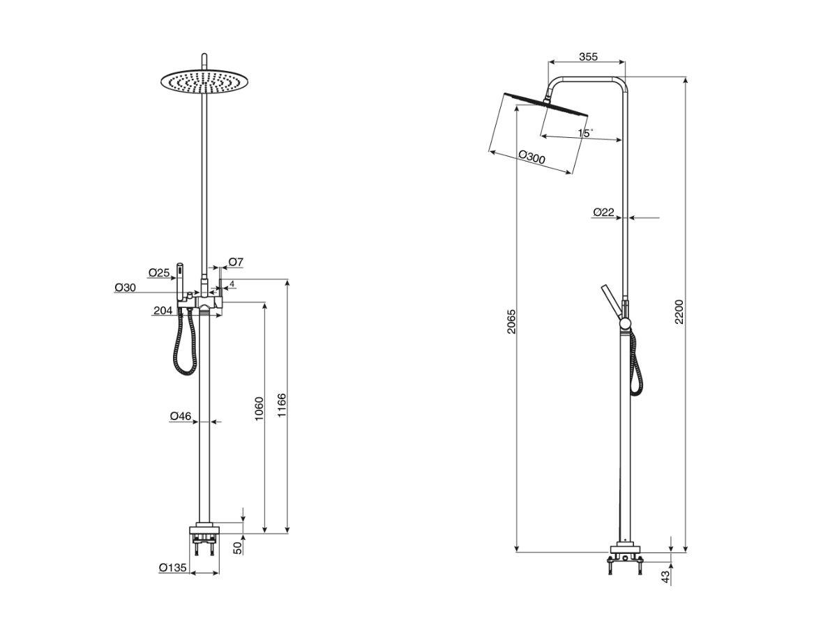 Milli Inox Freestanding Rail Shower & 300mm Overhead Stainless Steel (3 Star)