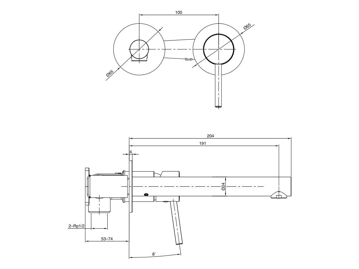 Mizu Drift MK2 Wall Mixer Set with 2 Cover Plate Design (4 Star)