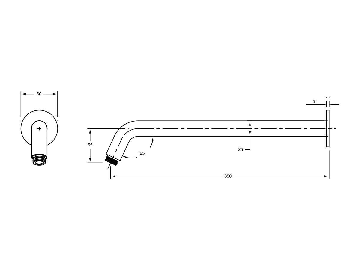 Milli Pure Horizontal Shower Arm 350mm