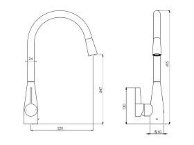 Memo Sia Sensor Gooseneck Sink Mixer Tap Dual Function Left Hand Lever (4 Star)
