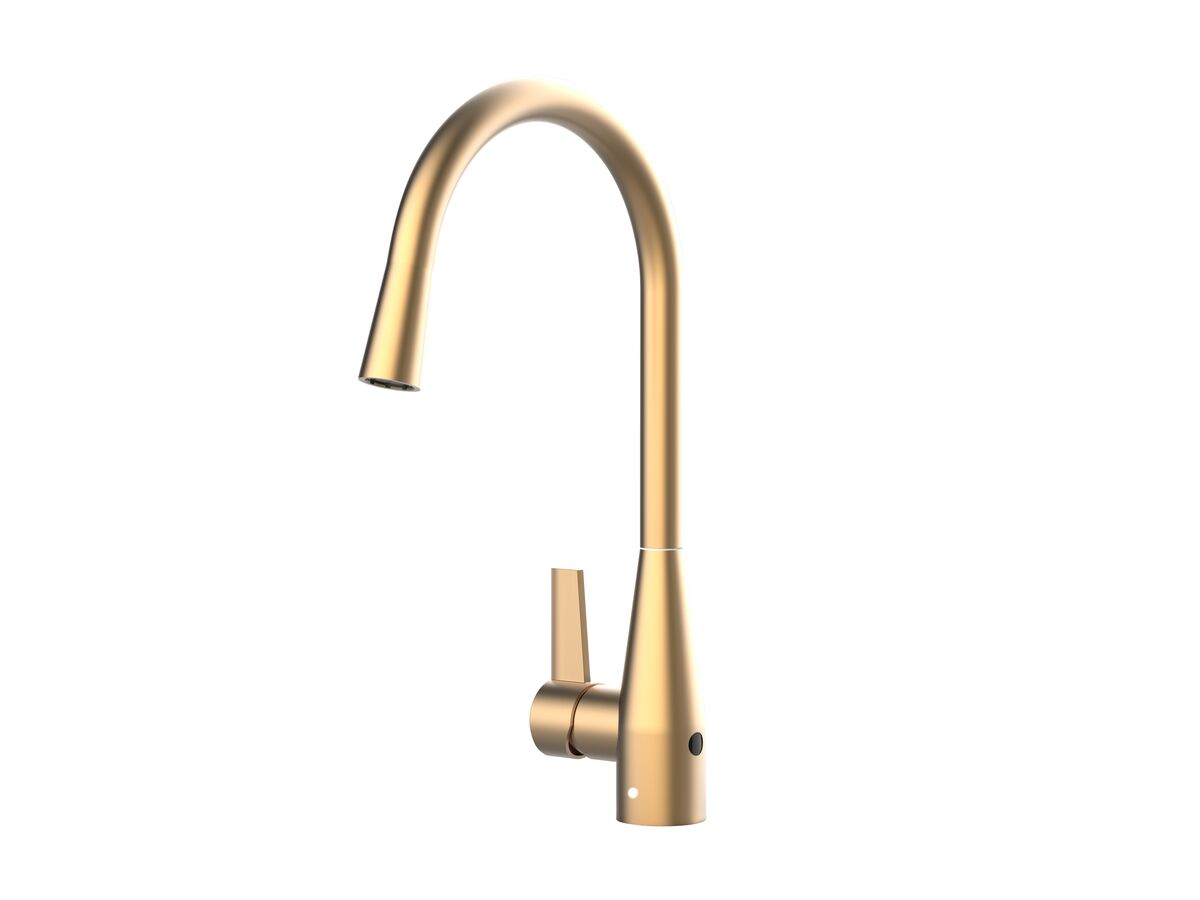 Memo Sia Sensor Gooseneck Sink Mixer Tap Dual Function Left Hand Lever Brushed Brass (4 Star)