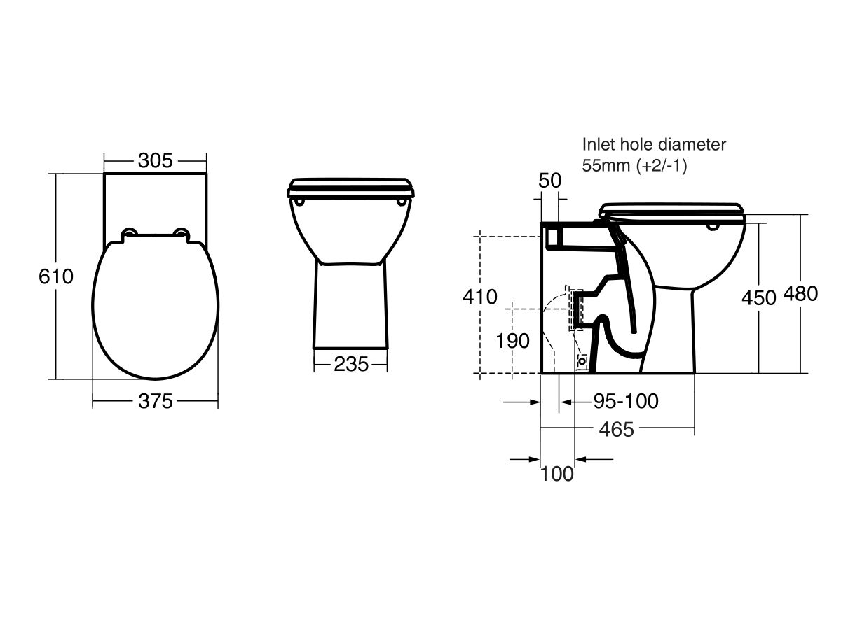 Portman 21 Rimless Overheight Back to Wall Pan 610mm & Double Flap Toilet Seat White (4 Star)