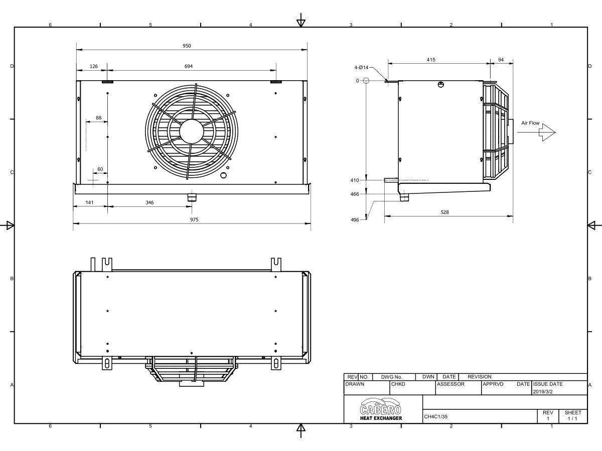Cabero Evaporator Medium Temperature CH4C1-35-1