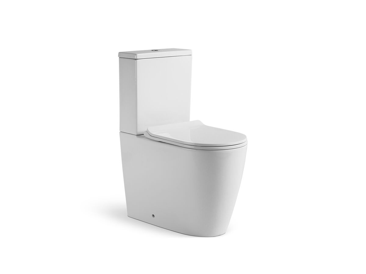 Kado Lux Close Coupled Back To Wall Rimless Overheight Back Inlet Toilet Suite with Thin Soft Close Quick Release Seat (4 Star)