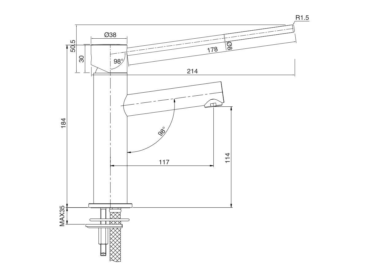 Mizu Drift MK2 Basin Mixer with Extended Lever (5 Star)