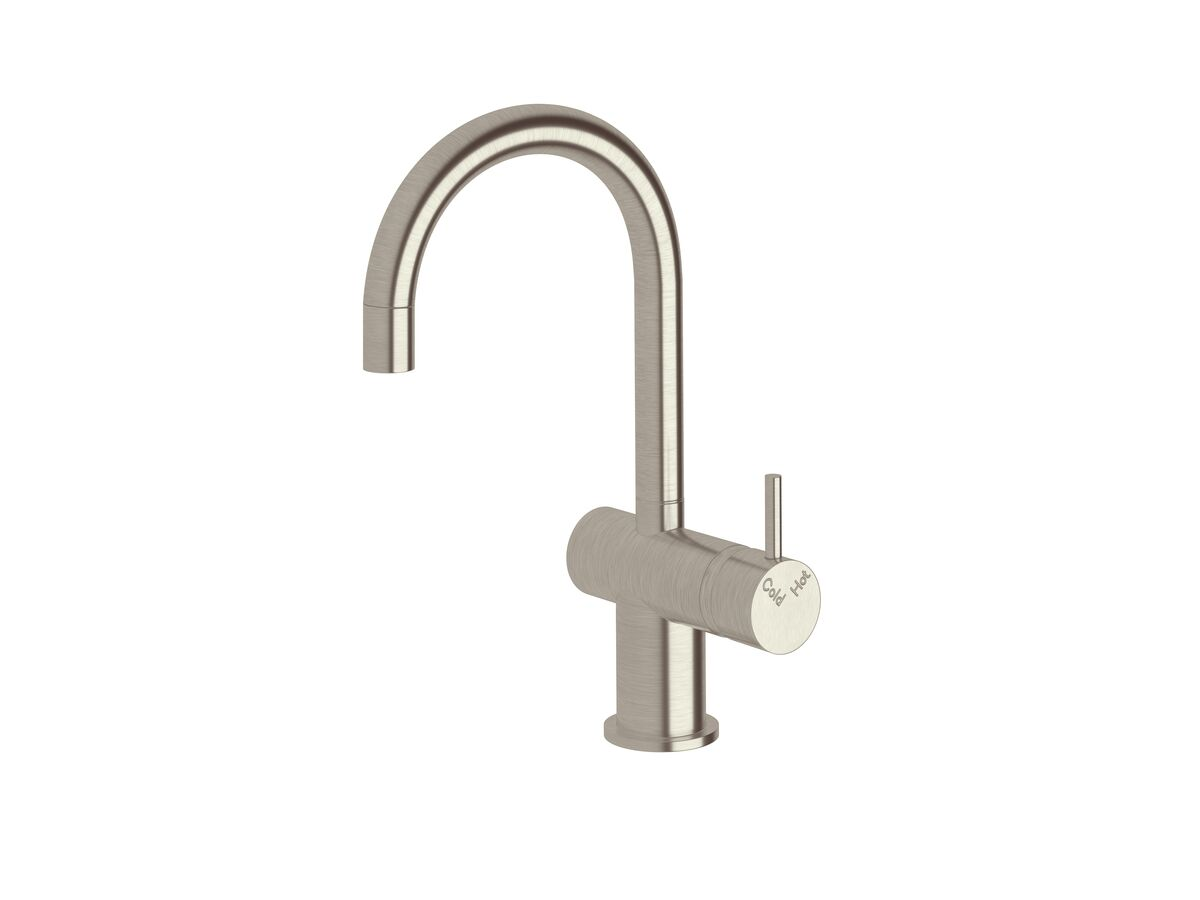 Scala Mini Basin / Sink Mixer Tap Small Curved Right Hand LUX PVD Brushed Oyster Nickel (5 Star)