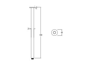 Milli Pure Vertical Shower Arm 500mm