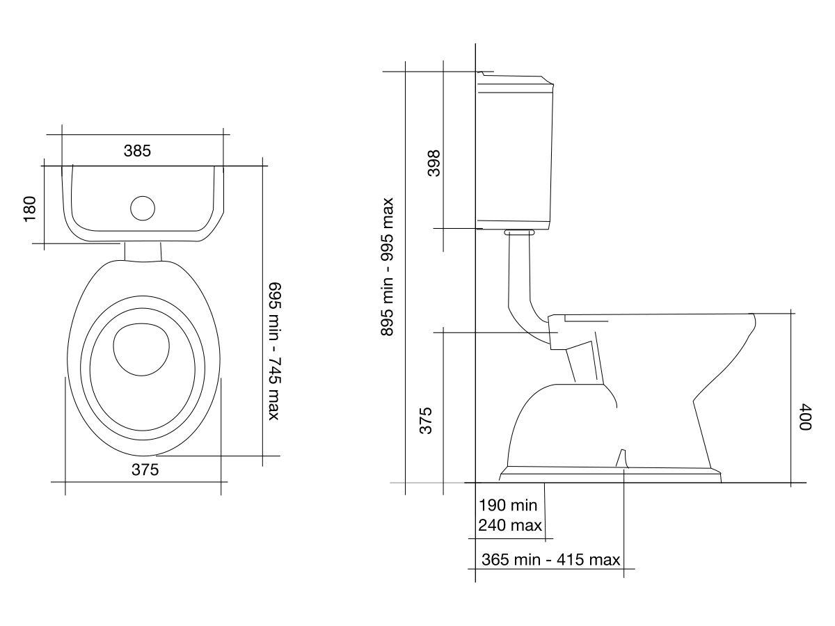 Posh Canterbury Low Level Toilet Suite White (4 Star)
