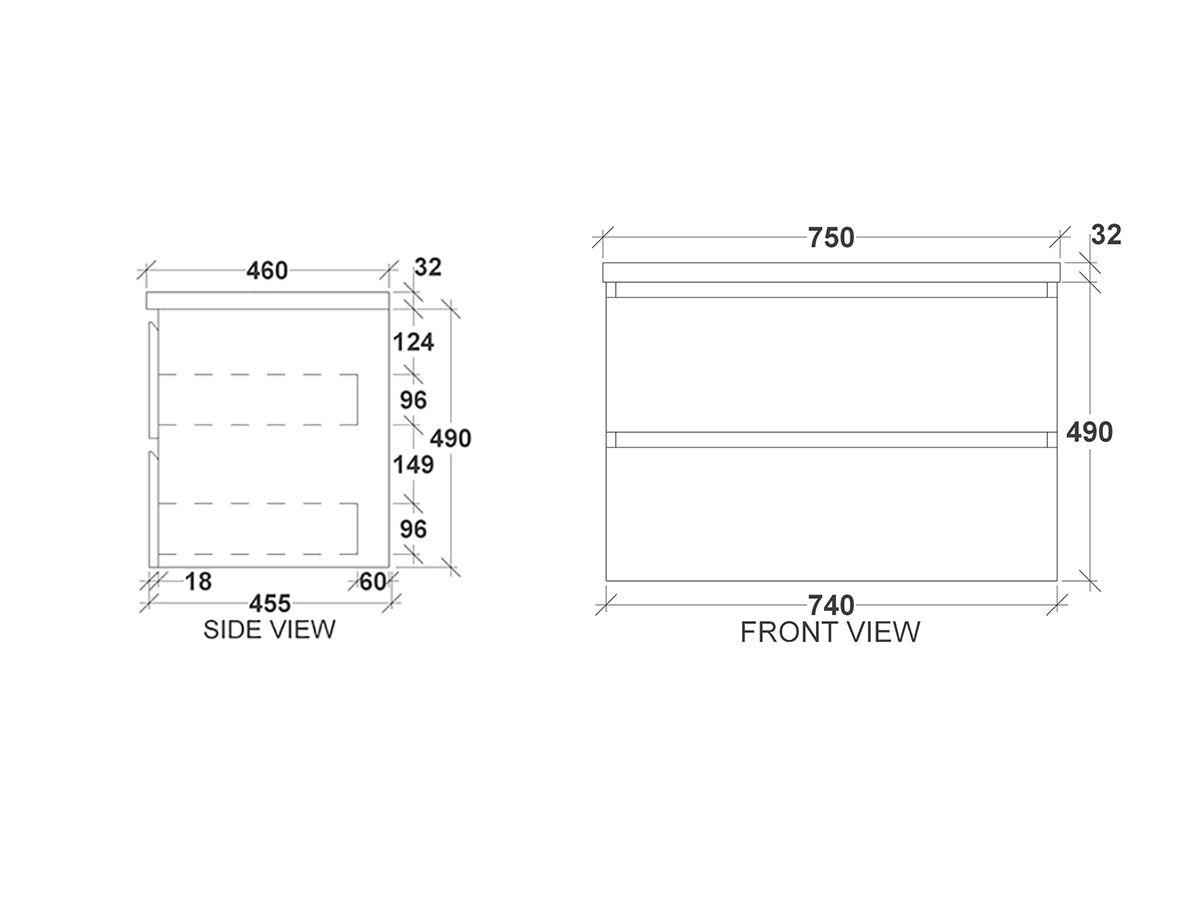 Kado Arc Timber Twin Drawer 750 Vanity Timber 32mm Top