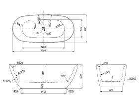Kado Lux Oval Freestanding Bath 1750x800x600 White