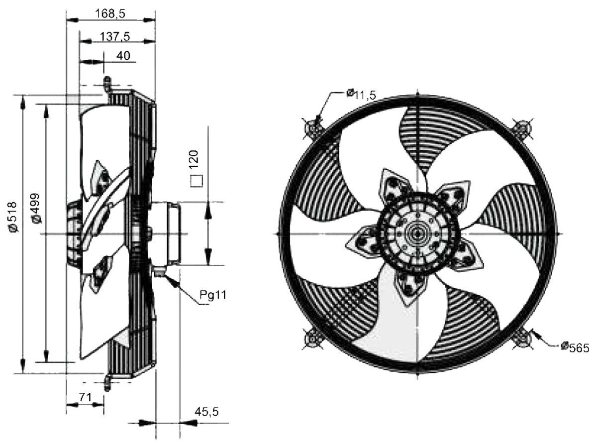 SolerPalau Fan 500mm 1Ph HRB/4-500/30BPN