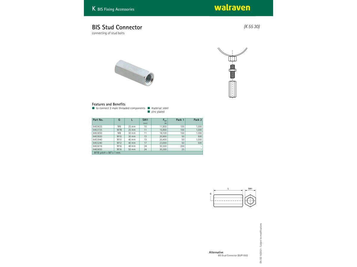 Specification Sheet - Walraven Rod Couplers (Metric)