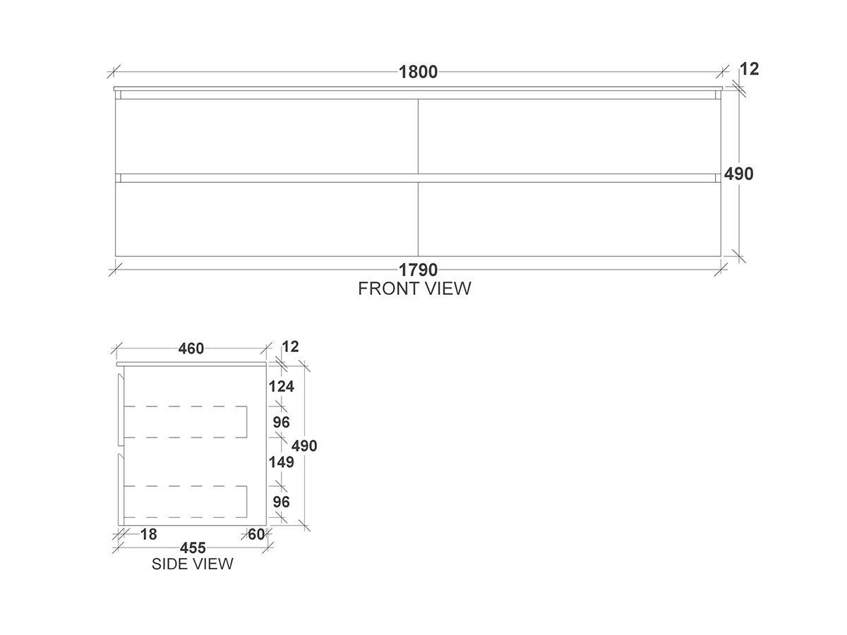 Kado Arc Timber Twin Drawer 1800 Double Bowl Vanity Corian 12mm Top