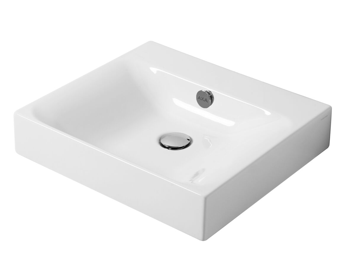 AXA Cento Wall Basin No Taphole 600mm White