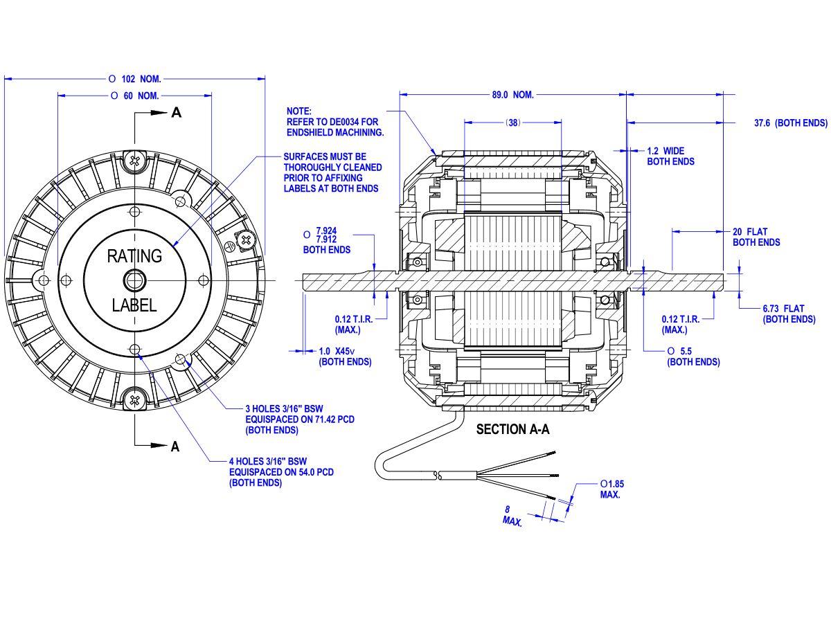 50D505-80AT Twin Shaft Fan Motor 60W