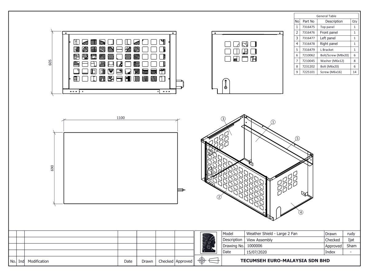 Tecumseh Large Condensing Unit Cover 1000006