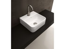 AXA Sheer Wall Basin with Fixing 1 Taphole 350 x 350mm White