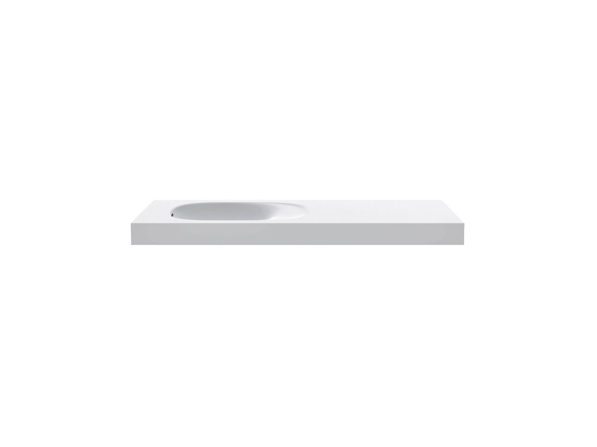 Kado Lussi 1200mm Left Hand Basin with Overflow No Taphole Matte White Solid Surface