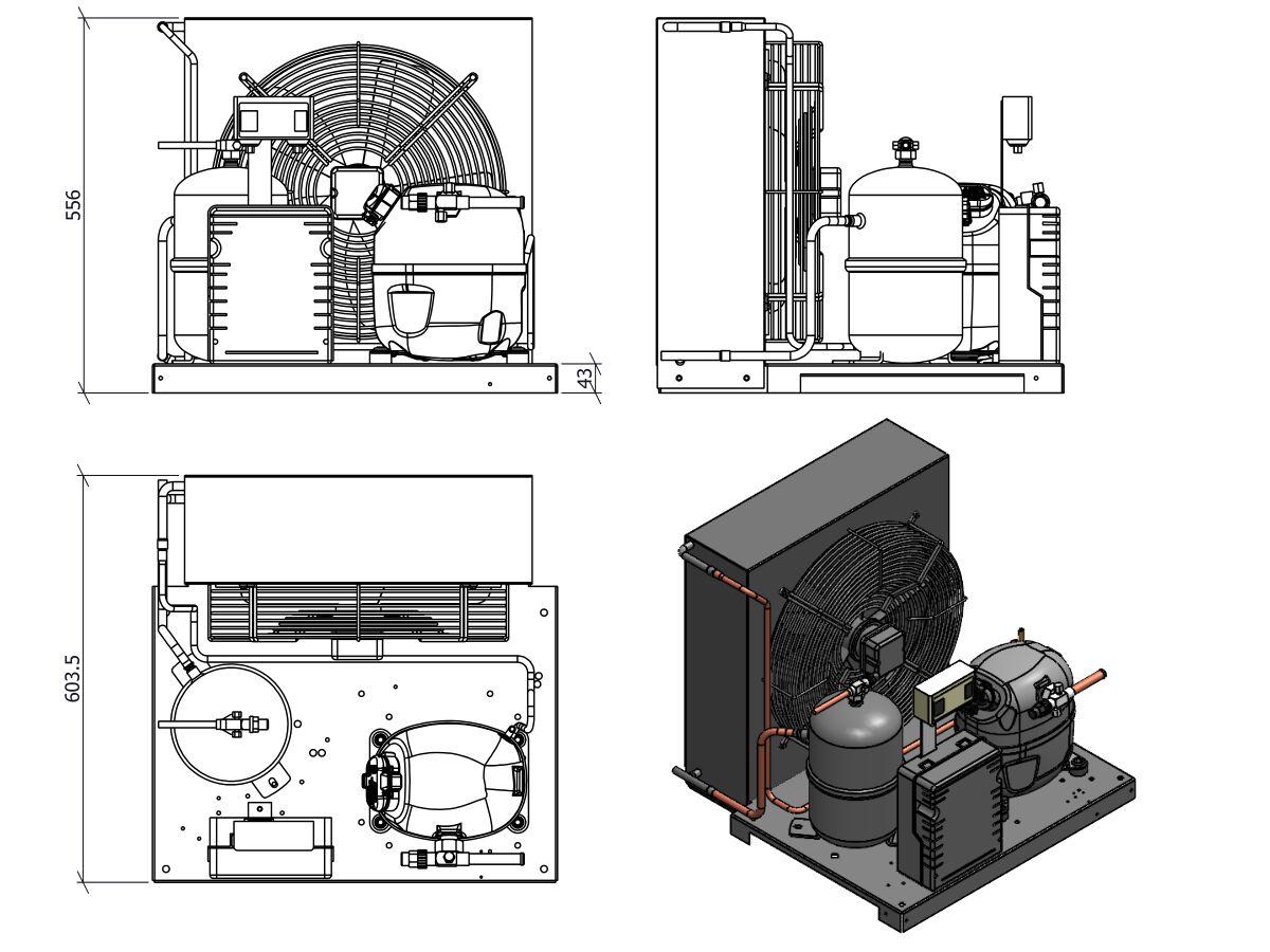 Tecumseh AJ2 HTA Condensing Unit 1 1/2 R404 MHBP CAJT4519ZHR-FZ-3 with Pressure Control 1.6 HP
