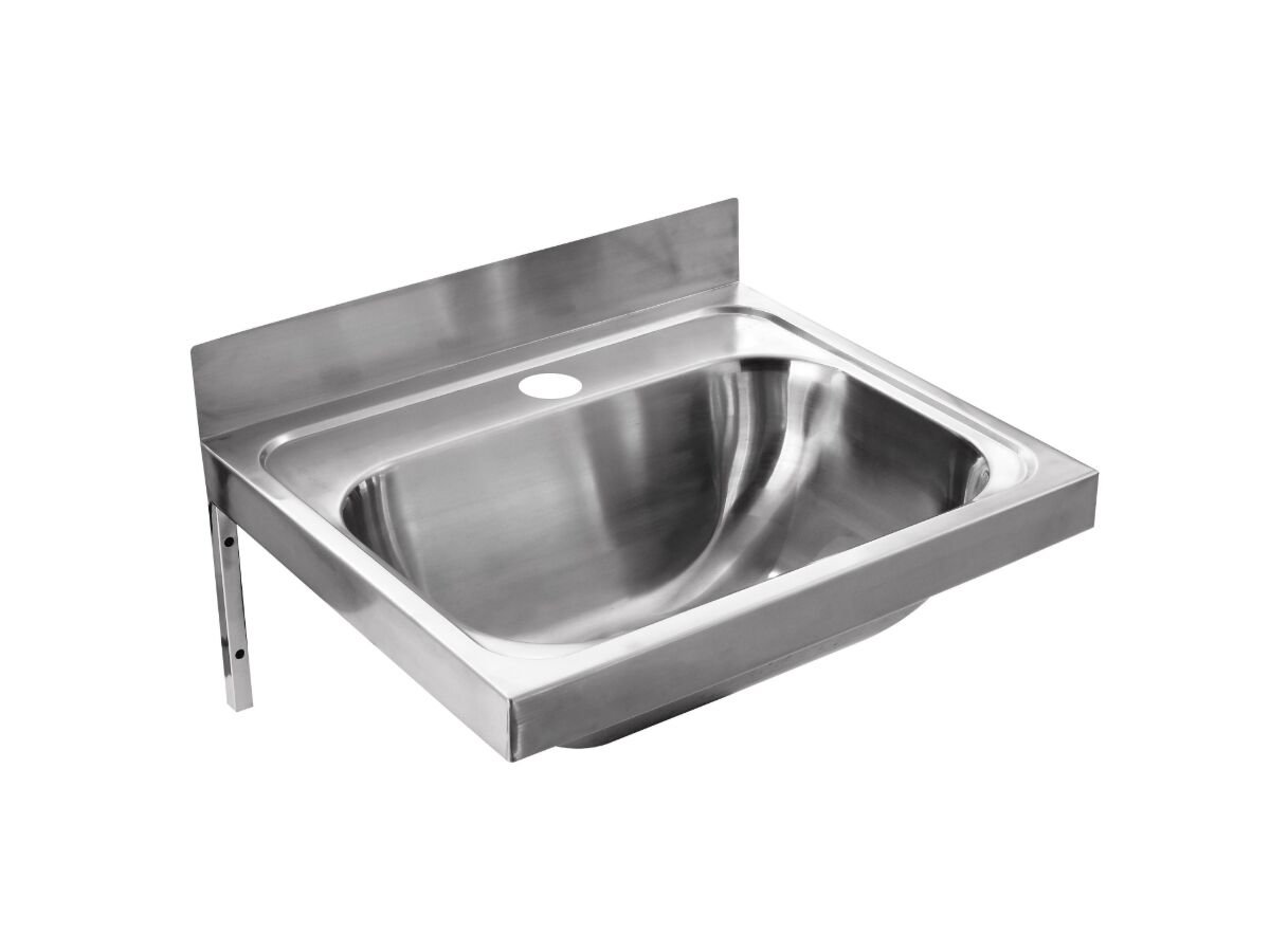 Wolfen Wall Hand Basin 500x420mm with Brackets Centre 1 Taphole Stainless Steel