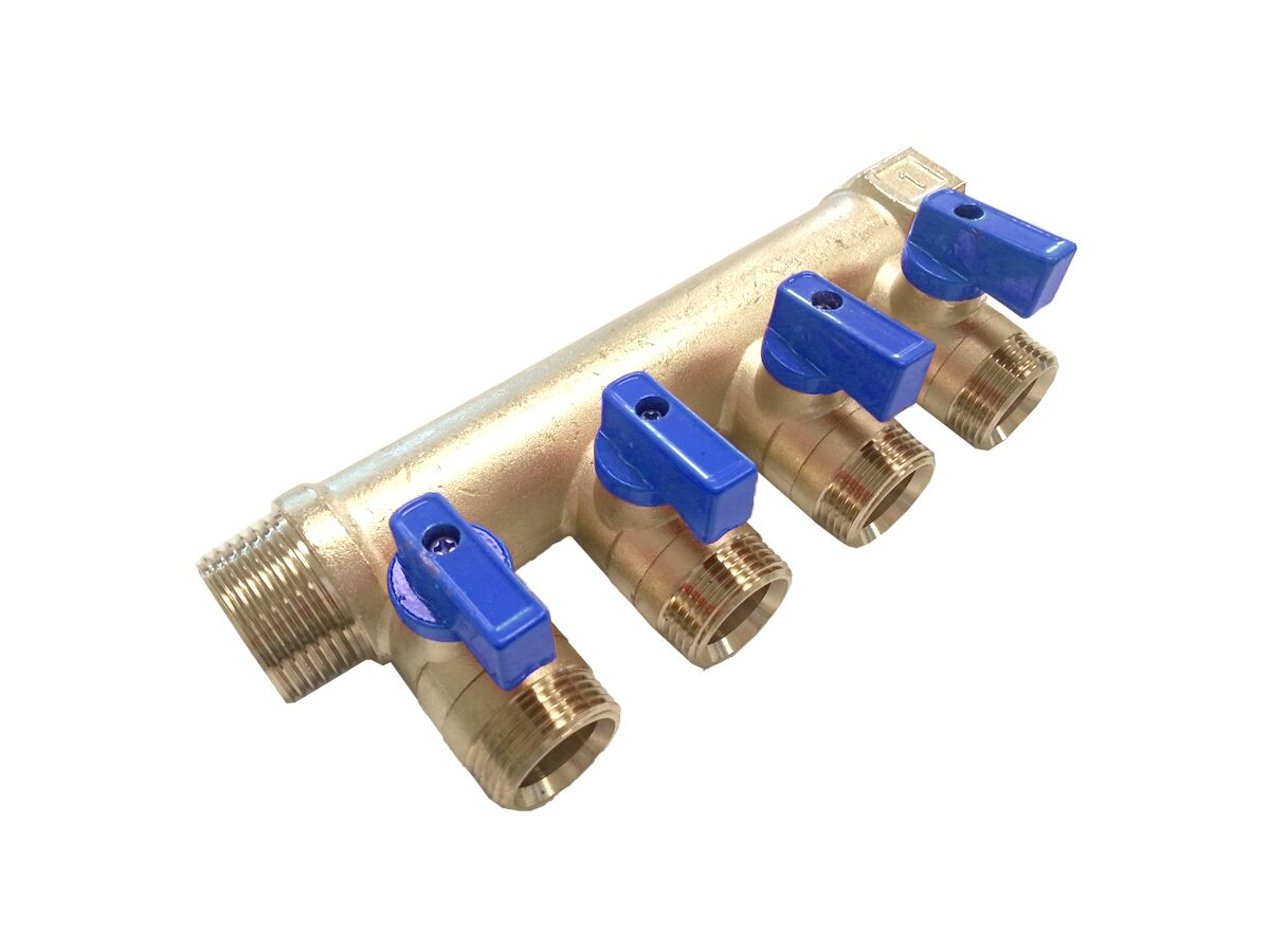 Rifeng Water Manifold Male & Female 1 x 3/4 Outlet - Blue Hand
