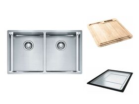 Franke Bow BXX220-36 Double Bowl Inset/Undermount/Flushmount Sink Pack Stainless Steel