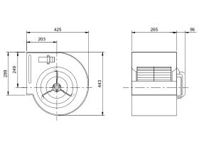 Technical Drawing - Kruger Centrifugal Fan KDD10/8 550W4P-1 3S