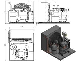 Tecumseh AJ2 HTA Condensing Unit 1 1/8 R404 MHBP CAJT9513ZMHR-FZ-3 with Pressure Control 1.1 HP