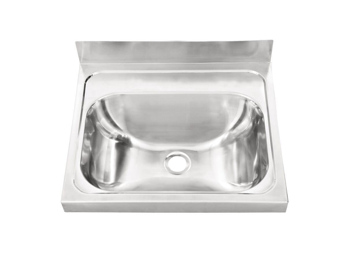 Wolfen Wall Hand Basin Stainless Steel 500x420mm No Tap Hole (Less Wall Bracket)