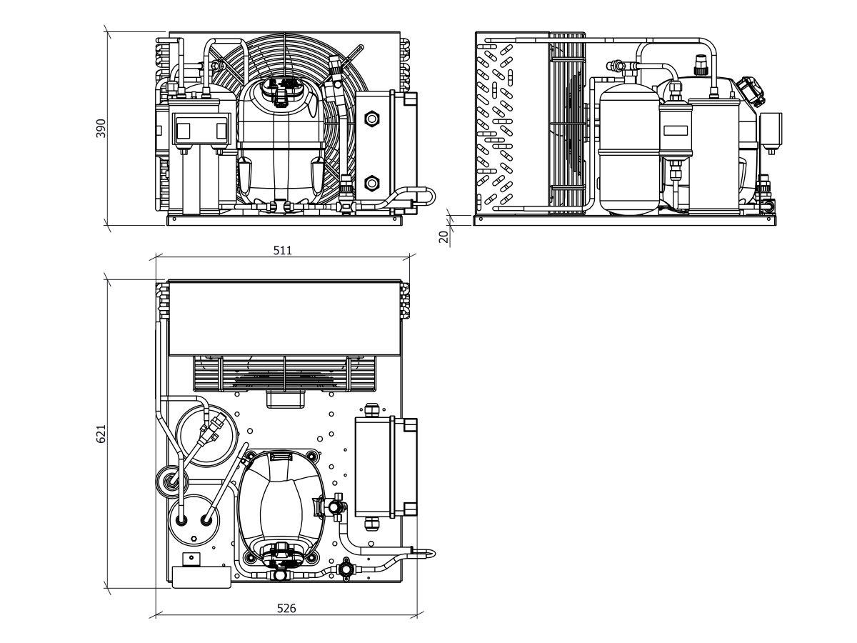 Tecumseh EVO Condensing Unit 1hp R404 MHBP EPCH9510Z 1 Phase