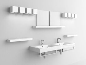 AXA Cento Wall Basin Double with Fixing 1 Taphole 1400mm White