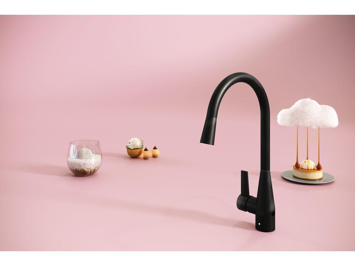 Memo Sia Sensor Gooseneck Sink Mixer Tap Dual Function Left Hand Lever Matte Black (4 Star)