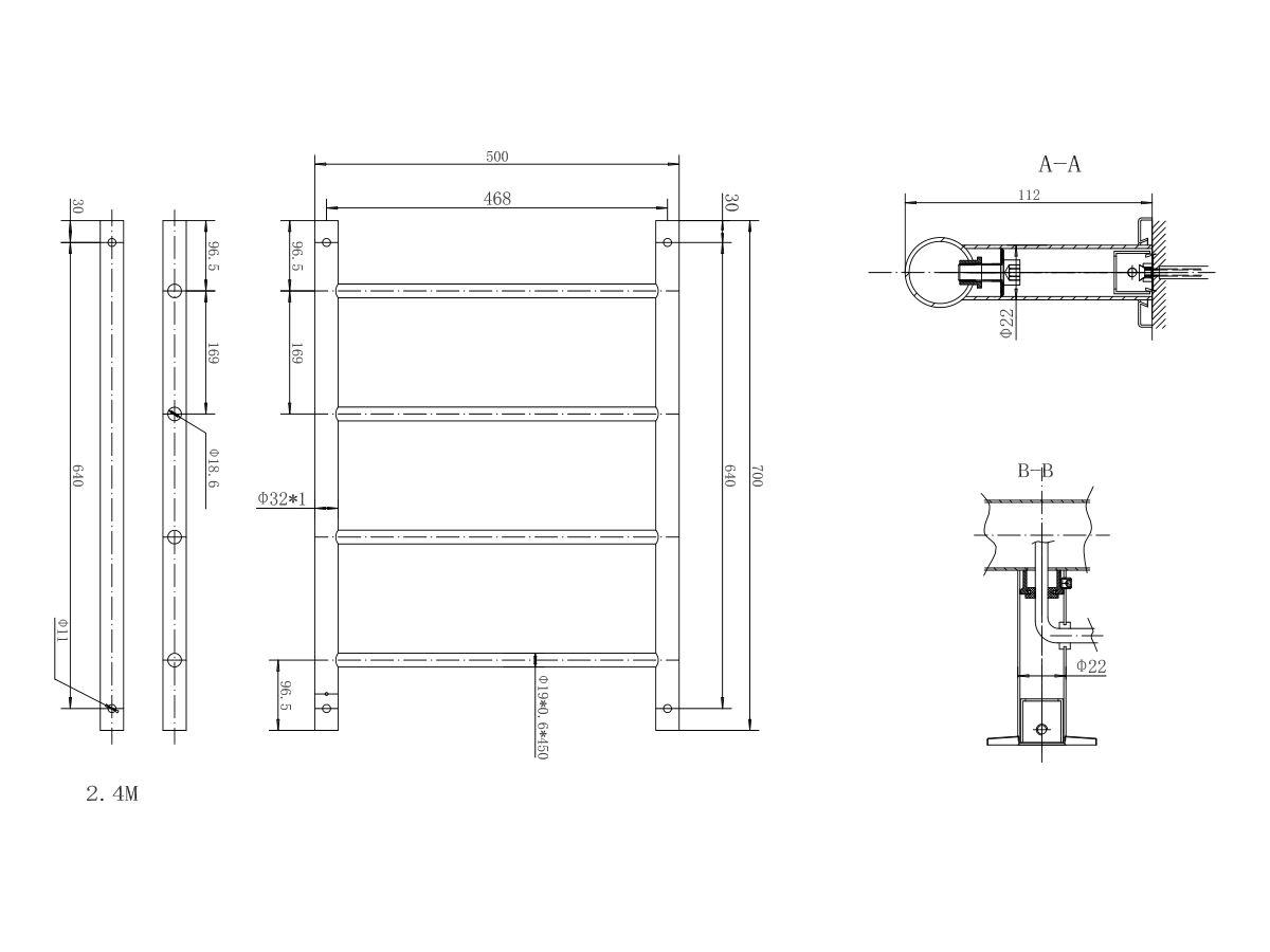 Solus MK2 Heated Towel Rail 500mm x 700mm