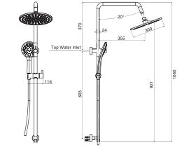 Mizu Drift Twin Waterrail with 300 Brass Overhead (3 Star)