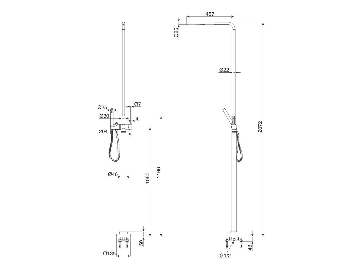 Milli Inox Freestanding Twin Shower Stainless Steel (3 Star)