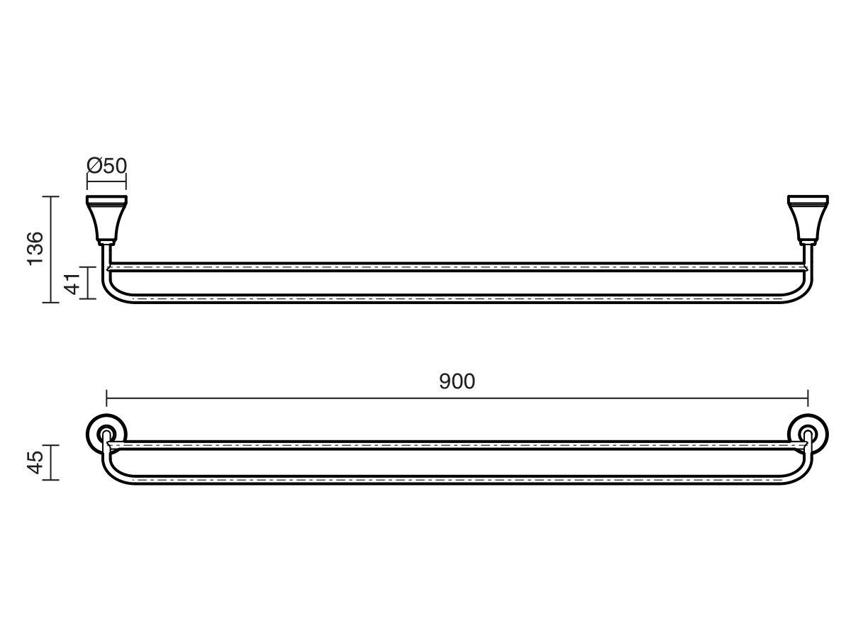 Kado Classic Double Towel Rail 900mm Chrome