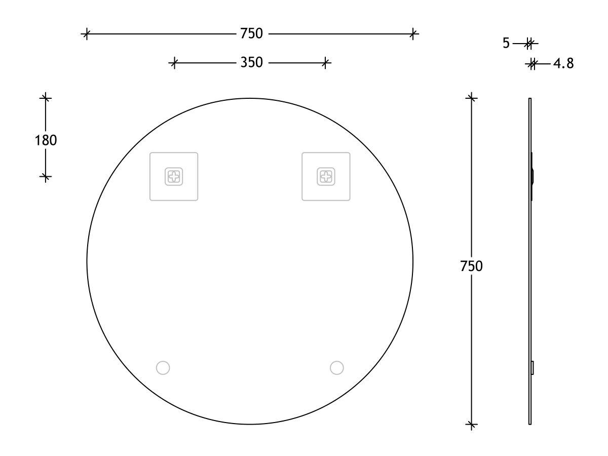 Posh Domaine Round Polished Edge Mirror 750x750