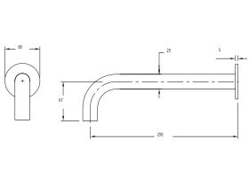 Milli Pure Wall Bath Outlet 250mm