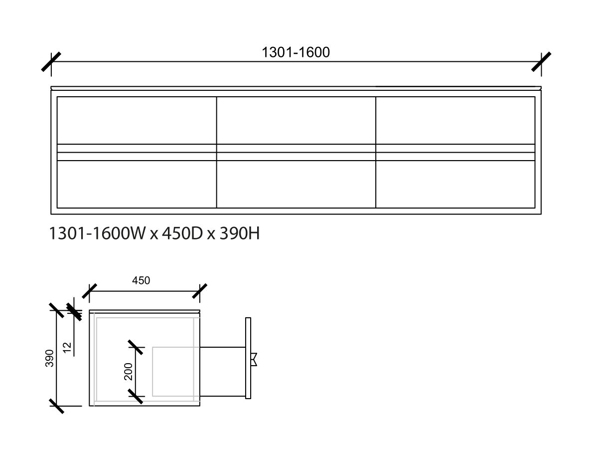 Issy Z8 Vanity Unit 6 Drawer Custom 1301-1600