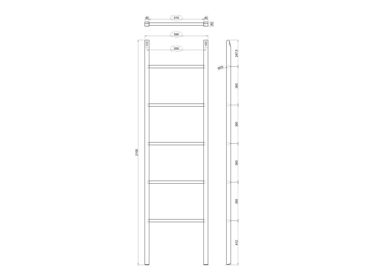 Kado Arc Towel Ladder American Solid Oak