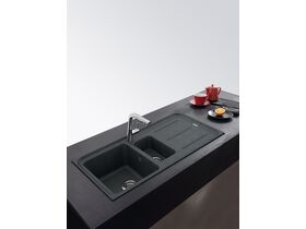 Franke Impact Granite 1.25 Bowl Sink with Drainer Reversible No Taphole Onyx