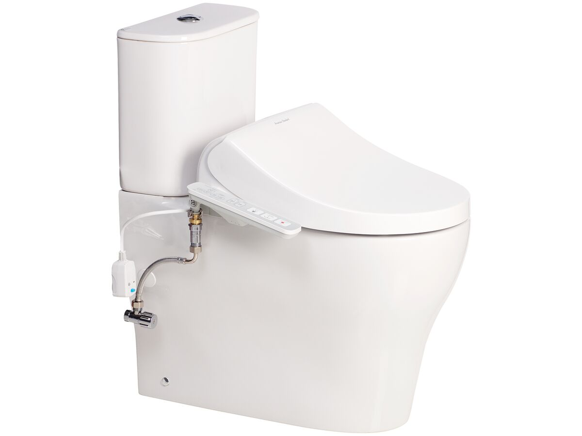 American Standard Cygnet Hygiene Rim Close Coupled Back to Wall Bottom Inlet Toilet Suite with American Standard SpaLet E-Bidet Seat White (4 Star)
