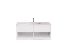 Posh Solus Wall Hung Vanity Shelf Acrylic Single Basin 2 Drawer 1500mm